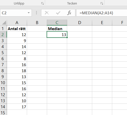 Bild på ett Excel-ark och medianen för en dataserie
