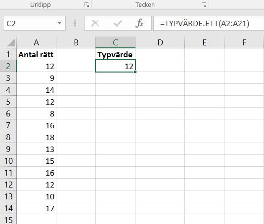 Bild på ett Excel-ark med formel för att räkna ut typvärde